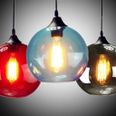 Simple Style Orb Pendant Light 1 Light Glass Hanging Light in Amber/Blue/Gray/Red for Study Room