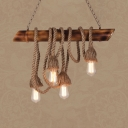 4 Heads Open Bulb Island Pendant Country Style Bamboo & Rope Island Light in Beige for Cafe