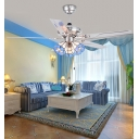 Antique Grid Bowl Ceiling Fan with Blade & Pull Chain Stainless Steel Semi Flushmount Light for Hotel