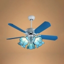 5 Lights Cone Ceiling Fan with 5 Blade Mediterranean Glass LED Semi Flushmount Light in Blue for Bedroom