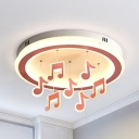 Metal Musical Note LED Ceiling Fixture Child Bedroom Nordic Style Flush Mount Light in Warm/White