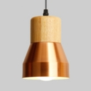 Metal & Wood Pendant Light 1 Light Modern Style Hanging Light in Brass/Copper for Living Room