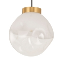 Modern Irregular Shade Pendant Light Clear 1 Light Brass Hanging Light for Restaurant Hallway