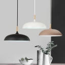 Saucer Shade Dining Table Hanging Light Metal One Light Macaron Loft Pendant Light in Black/Coffee/White