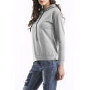 Women's Fashion Simple Plain Zip Split Side Long Sleeve Relaxed Fit Hoodie