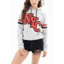 Popular Simple Letter NYC Print Striped Long Sleeve Grey Casual Loose Hoodie