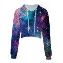 Popular Fashion Galaxy 3D Printed Long Sleeve Cropped Casual Drawstring Hoodie