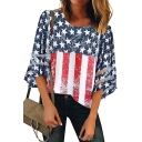 Popular American Flag Pattern Round Neck Mesh Panel Sleeve Loose Fit T-Shirt