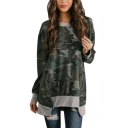Stylish Camouflage Printed Round Neck Long Sleeve Zipper Irregular Hem Tunic Casual Green Sweatshirt