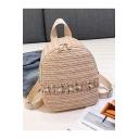 Summer Fashion Plain Lace Pearl Embellishment Straw Bag Backpack 18*22*11 CM
