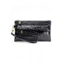 New Fashion Crocodile Pattern PU Clutch Purse with Zipper for Women 21*11*2 CM