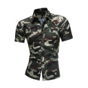 Mens Trendy Camo Printed Spread Collar Short Sleeve Military Slim Fit Shirt