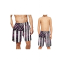 Hot Popular Flag Striped Printed Drawstring Waist Casual Loose Holiday Parent-Child Swim Trunks Shorts