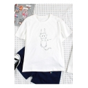 Summer Funny Cute Cartoon Cat Print Round Neck Short Sleeve Cotton T-Shirt