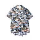 Summer Popular Hawaiian Style Tropical Print Short Sleeve Cotton Loose Beach Shirt