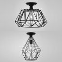 Metal Diamond Cage Ceiling Mount Light 1 Light Antique Style Flush Light in Black Finish for Hallway