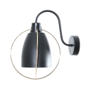 Black Bowl Shade Wall Light 1 Light Industrial Metal Sconce Light for Bedroom Restaurant