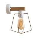 Simple Style Wire Frame Wall Light One Head Wood Sconce Light in Beige for Hallway Kitchen