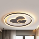 2-Heart Living Room Ceiling Mount Light Acrylic Contemporary Third Gear LED Flush Light