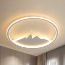 Mountain View Kindergarten Ceiling Mount Light Acrylic Creative LED Flush Light in Warm/White