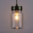 Jar Kitchen Hallway Pendant Light Clear Glass Single Light Industrial Hanging Light in Black