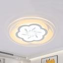 Acrylic Plum Blossom Ceiling Mount Light Cartoon Warm/White Lighting LED Ceiling Lamp for Living Room