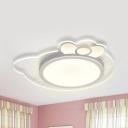 Kitten Shaped LED Flushmount Light Animal Acrylic Stepless Dimming/Warm/White Ceiling Lamp for Child Bedroom