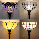 One Head Bowl Shade Floor Light Tiffany Rustic Clear/Purple/White/Yellow Glass Floor Lamp for Villa Hotel