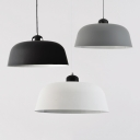 Macaron Loft Barn Suspension Light Metal 1 Head Black/Gray/White Pendant Light for Study Room