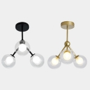 3 Lights LED Flush Mount Lighting Clear Globe Shade in Black/ Gold Finish