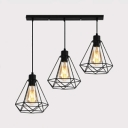Metal Wire Frame Pendant Lamp Kitchen Shop 3 Heads Vintage Stylish Ceiling Pendant in Black