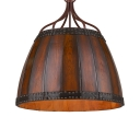 Bucket Restaurant Cafe Pendant Light Wood 4 Lights Rustic Stylish Hanging Light in Brown