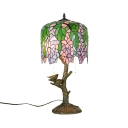 2 Lights Tree Leaf Desk Light Rustic Tiffany Stained Glass Desk Lamp with Bird for Bedside Table