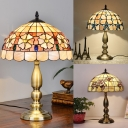 Vintage Bead/Hollow/Rose Desk Light Single Light Stained Glass Table Lamp in Beige for Study Room