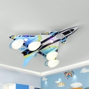 Wood Airplane LED Flush Ceiling Light Boy Bedroom Modern Cool Ceiling Fixture in Blue