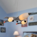 Modern Creative Plane Pendant Light Metal Blue/Silver Ceiling Pendant for Kid Study Room