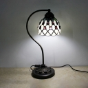 Beige Grid Bowl Desk Light with Bead 1 Light Tiffany Simple Style Glass Table Light for Bedside Table