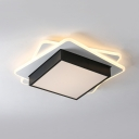 Acrylic Stacked Square Flush Mount Light Contemporary LED Ceiling Light with Warm/White Lighting for Corridor