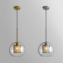 Simple Style Orb Pendant Lamp with Mesh Screen Glass Hanging Light in Brass/Chrome for Restaurant