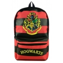 Hot Fashion Cosplay Badge Letter Classic Red and Black Striped Printed School Bag Backpack