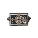 Designer Creative Dictionary Pattern Cross Tape Patched Black Waist Bag Crossbody Shoulder Bag 26*5.5*18.5 CM