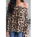Womens Stylish Ruffled Off the Shoulder Long Sleeve Leopard Print Khaki Chiffon Blouse Top