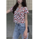 Summer Girls Cute Allover Strawberry Printed Round Neck Short Sleeve White Crop T-Shirt
