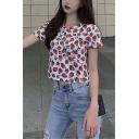Summer Girls Cute Allover Strawberry Printed Round Neck Short Sleeve White Crop T-Shirt