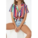 Summer Unique Colorful Stripe Printed Lapel Collar Short Sleeve Tied Hem Casual Hawaiian Camp Shirt