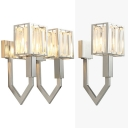 Metal Cube LED Wall Light with Crystal Stair 1/2 Head Traditional Sconce Light in Chrome