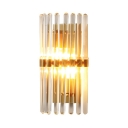 Contemporary Gold Wall Light Liner Clear Crystal 2 Lights Sconce Light for Stair Bedroom