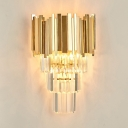 Living Room Torch Shaped Wall Light Metal & Clear Crystal Luxurious Style Gold Sconce Light