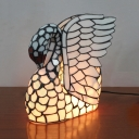 Art Glass Swan Table Light Child Gift 1 Head Tiffany Stylish Desk Lamp in White with Plug-In Cord