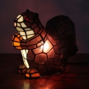 Stained Glass Squirrel Night Light Single Light Tiffany Lovely Table Light for Baby Bedroom